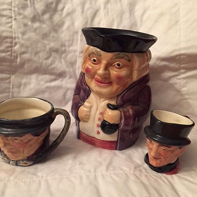 LOT OF  STAFFORDSHIRE ENGLAND TOBY MUGS Hand Painted