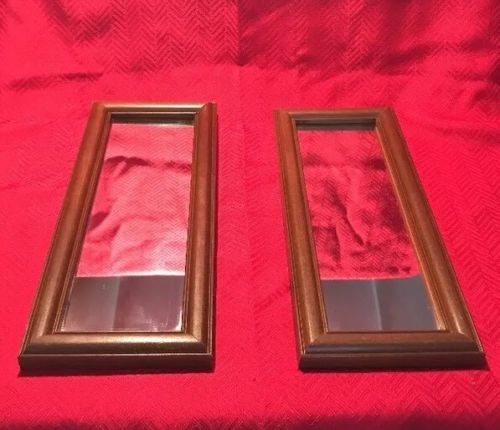 VTG Pair Of Wall Accent MIRRORS Lot Set Wood Frame Decor Brown ??