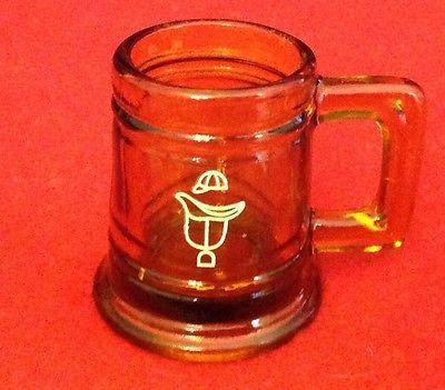 Vintage Amber Jockey Logo Glass Mug Toothpick Holder