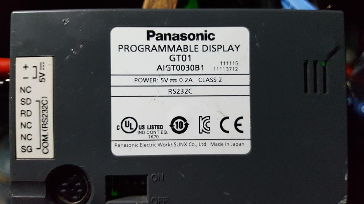 Panasonic GT01 AIGT0030B1 Programmable Display