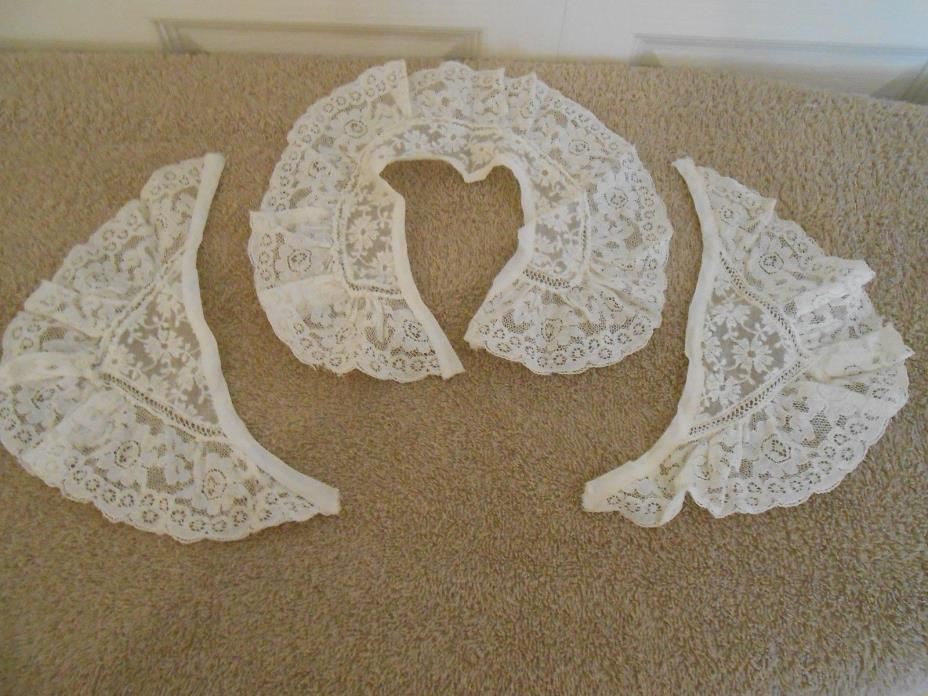 VINTAGE LACE--2 COLLARS; 3RD COLLAR HAS MATCHING CUFFS--3 TOTAL