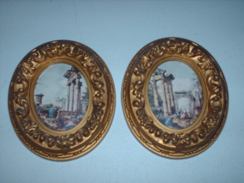 Set of 2 Gold PLASTIC Framed OVAL Pictures Made in Italy - 4 5/8