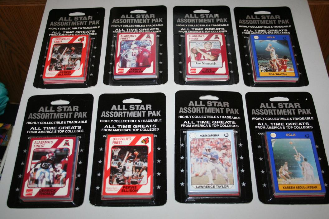 1989 All Star Assortment Paks - Collegiate Collection (8) COCA-COLA COLLEGE