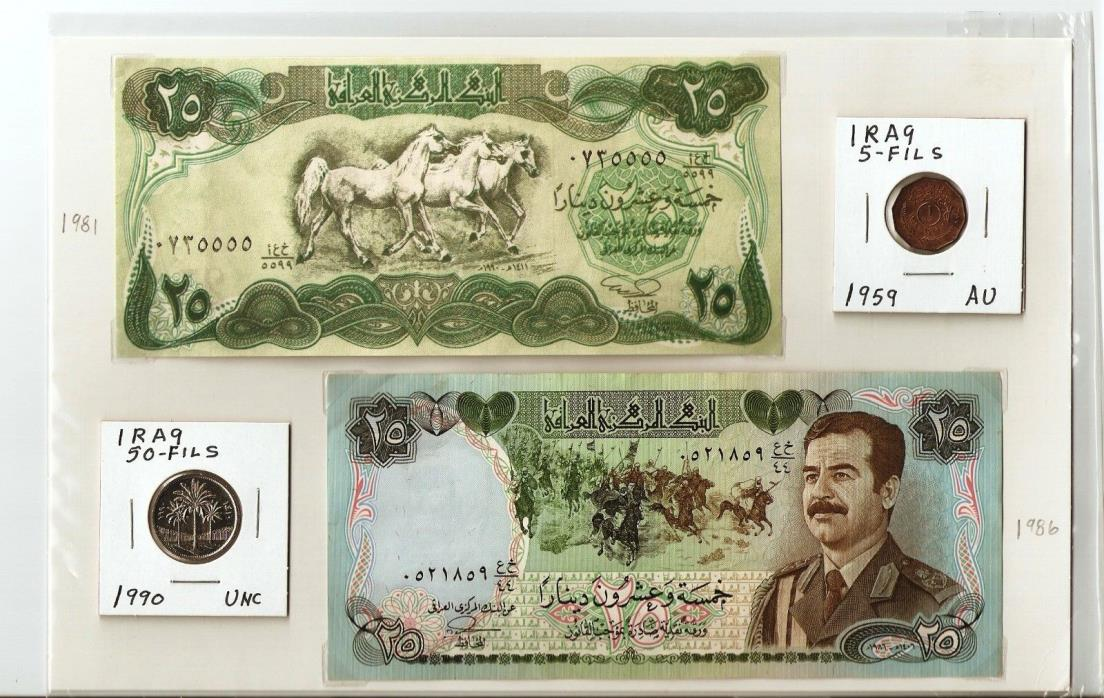 I have 2 banknotes and 2 coins from Iraq, no creasing
