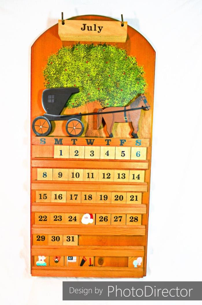 Solid Wood Handmade Perpetual Country Calendar with Horse and Buggy