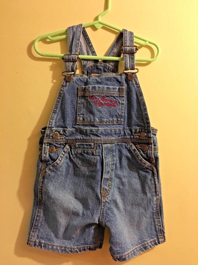 Levis Signature Toddler Denim Bib Overalls Shorts Size 24 Months Shortalls