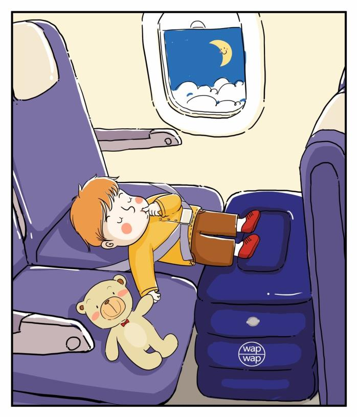 Travel Pillow for Leg Rest, wapwap Inflatable Kid Travel Leg Pillow on Airplanes