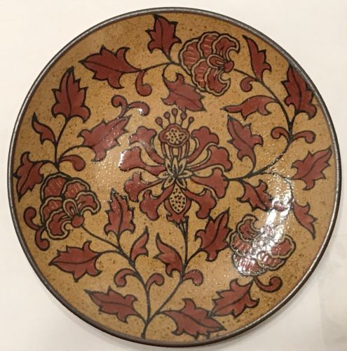 Chinese Exotic Red Flowers & Florals on Brown Ceramic Dish Plate w Sandy Glaze