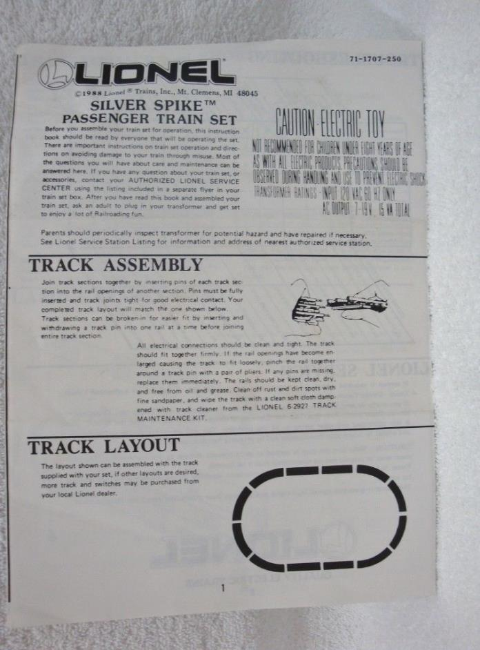 Lionel Silver Spike Passenger Train Set Instructions