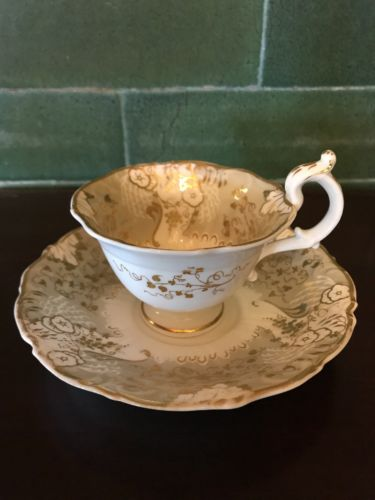 Antique Davenport Longport Staffordshire teacup and saucer circa 1870-1886