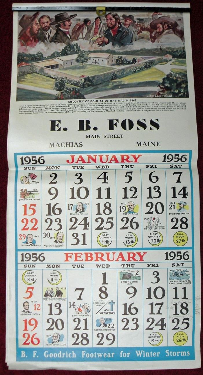 Machias Maine B F Goodrich Footwear E.B. Foss Store Machias Maine Calendar 1956