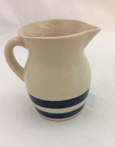 Vintage Or Antique Blue & Cream Creamer Pottery Pitcher Hand Formed?