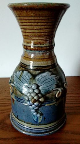 Rare Blue and Brown Stoneware/Pottery Wine Carafe/ Decanter