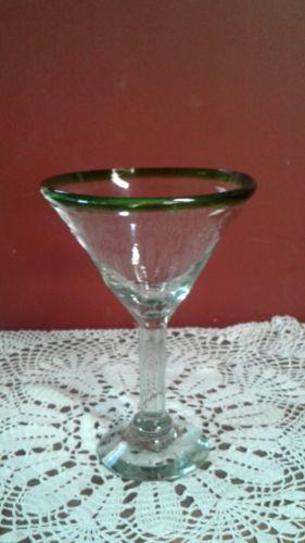 Hand Blown Green Rimmed Martini Glass