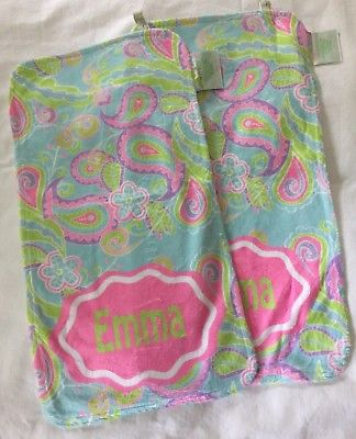 2 Lolly Wolly Doodle Personalized Minky Burp Cloths, Emma, NWOT