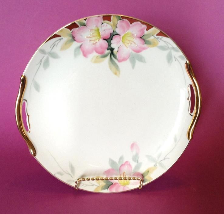 Noritake Azalea - Cake Plate With Gilded Handles - Hand Painted Japan