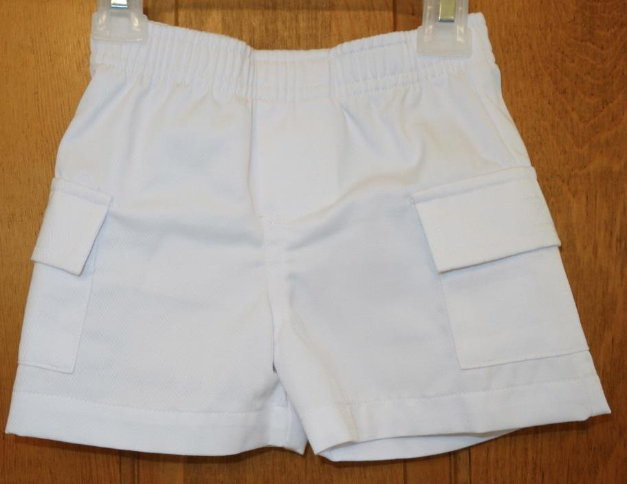 New  ~ Kelly's Kids William White Twill Cargo Shorts ~ Boy's Size 12 Month