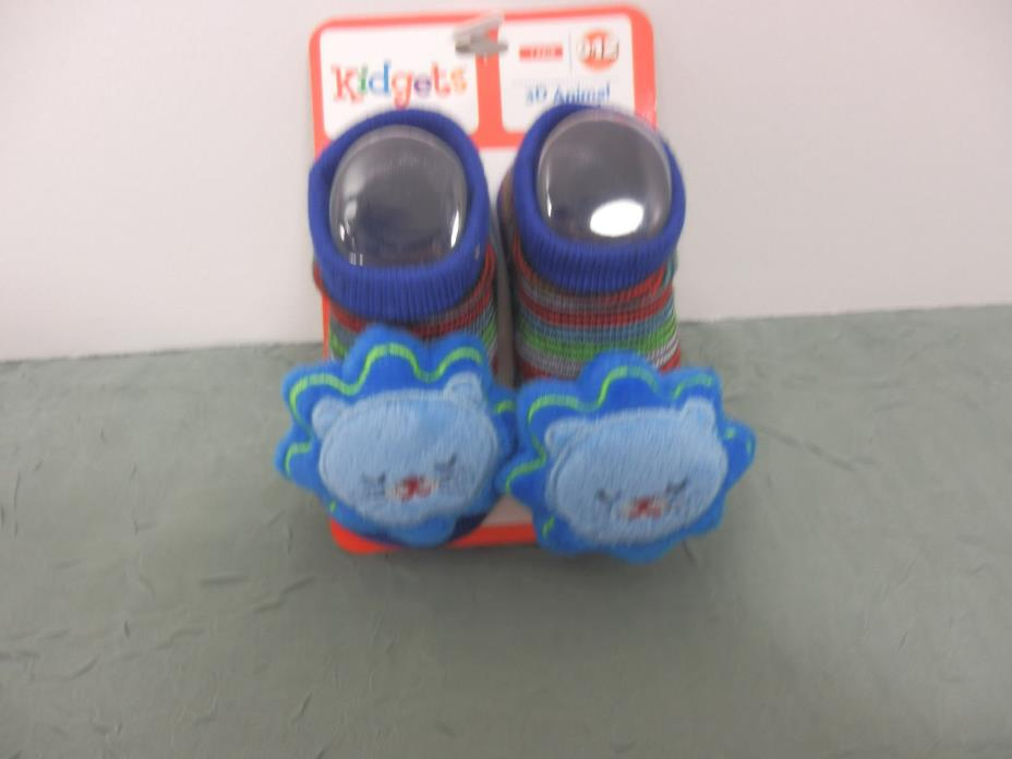 Kidgets 3D Animal Socks Baby Booties Blue Lion 0-12 Months-1pr REF#S131