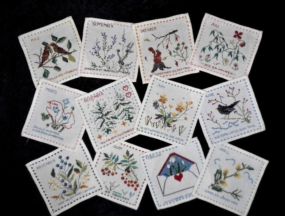 12 Twelve Months Sampler Botanic Floral Finished Completed Cross Stitch Lot Set