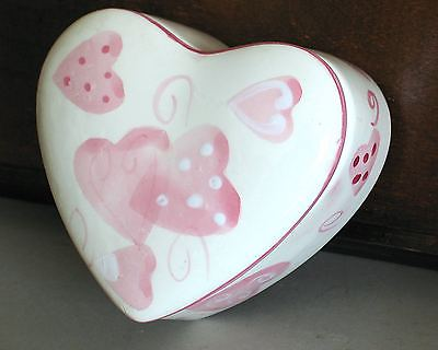 Pink on White Heart Shaped Trinket Jewelry Box cover VALENTINE'S DAY FREE SH