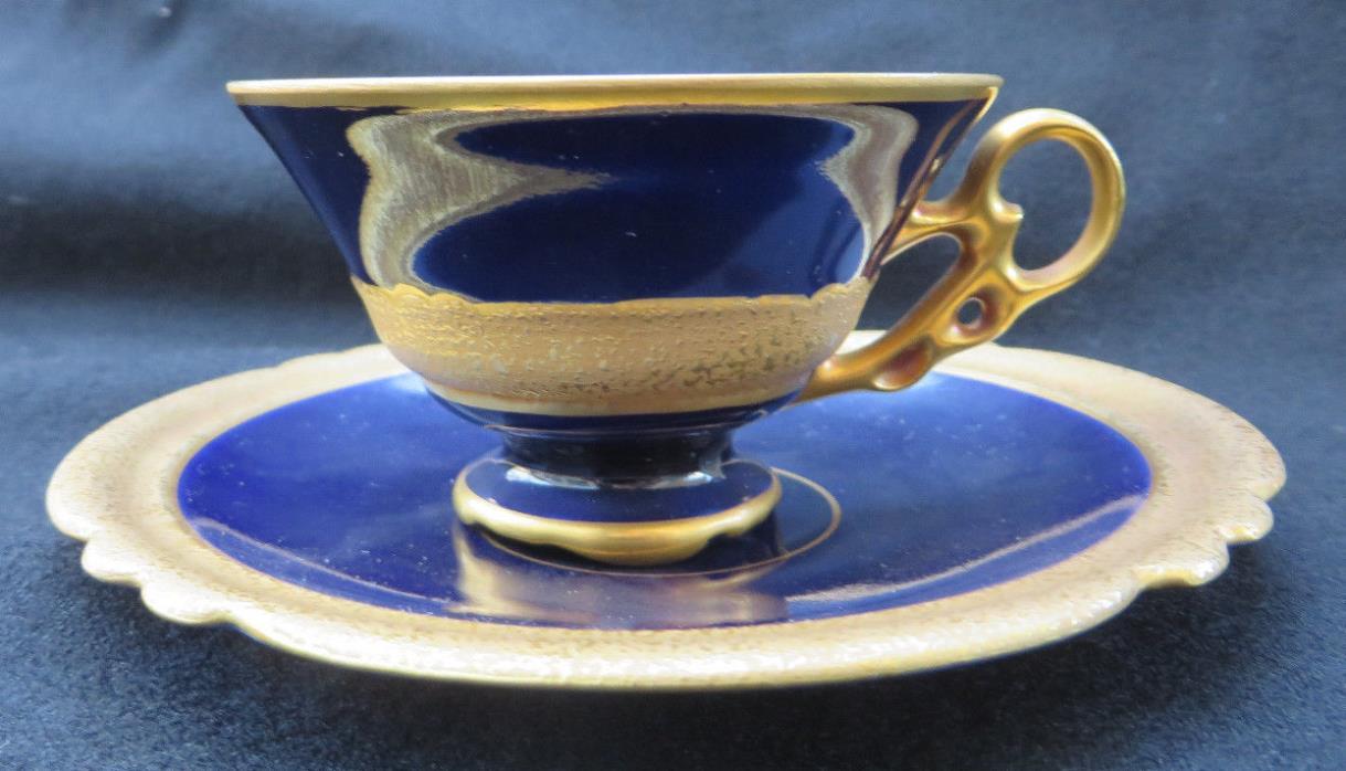 JLMenau Graf Von Henneberg Genuine Cobalt & Gold Demitasse Cup and Saucer