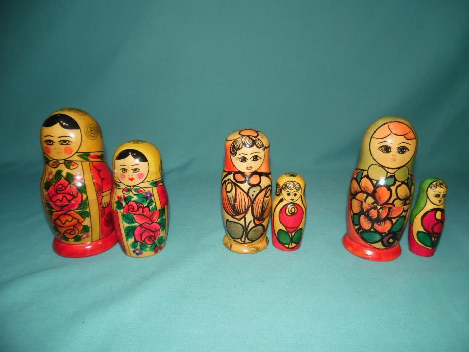 3 Mixed Soviet Era Russian matryoshka wood nesting doll babushka USSR