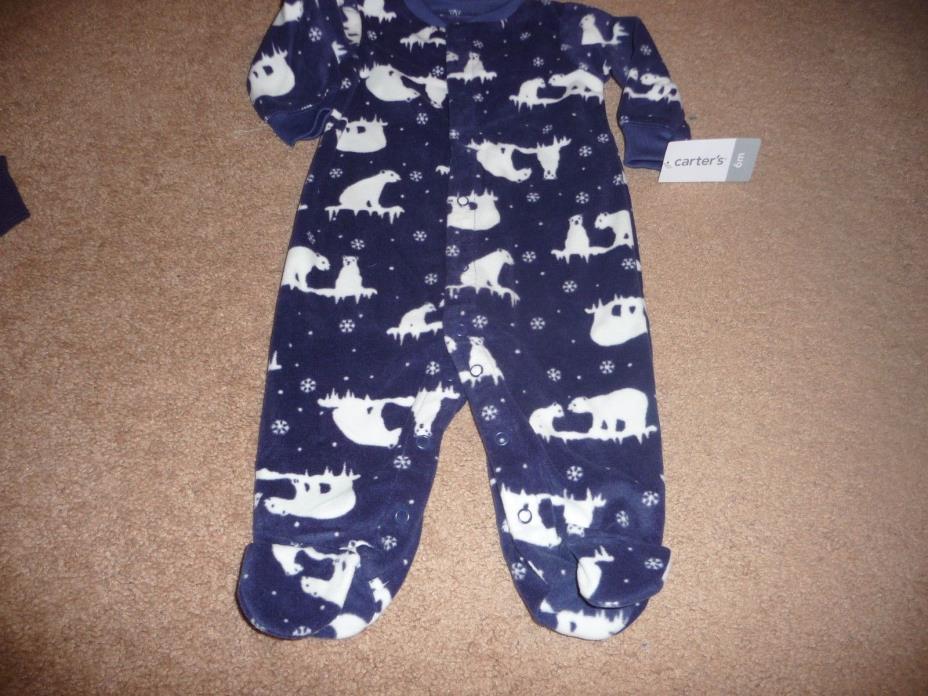 NEW NWT Carters boys size 6 months warm fleece polar bear sleeper pajamas
