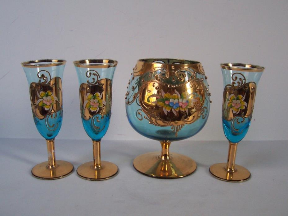 Blue Floral Art Glass Liquor Decanter Glass Set Hand Painted Heavy Gold Italy