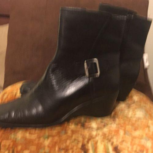 Anne Klein Short Boots Black Leather