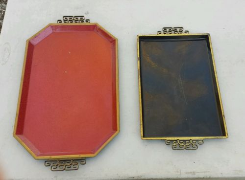 2 Vintage Metal Serving Trays Moire Glaze Kyes California & Nashco Products NY