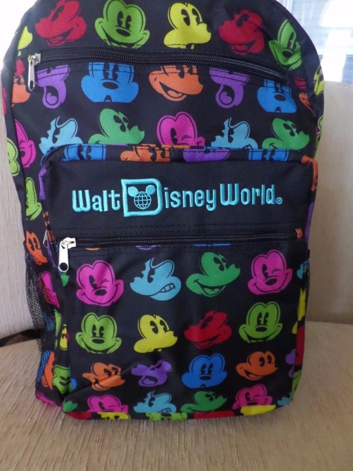 Walt Disney World Parks Mickey Mouse Face Multi Rainbow Color Icons Backpack New