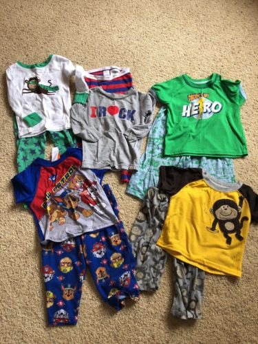 Lot Baby Boy toddler 24 Months 2T Pajamas PJ's Jammies Short & long sleeves