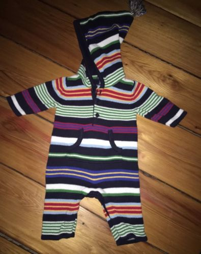 Baby Gap Boys Hooded Striped One-Piece Sweater Romper 0-3 Mths.