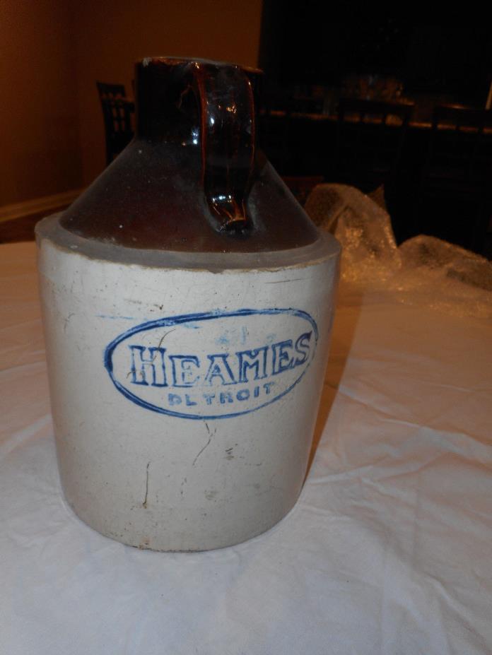 Vintage Heames Stoneware Primitive Crock Jug, Detoit Michigan