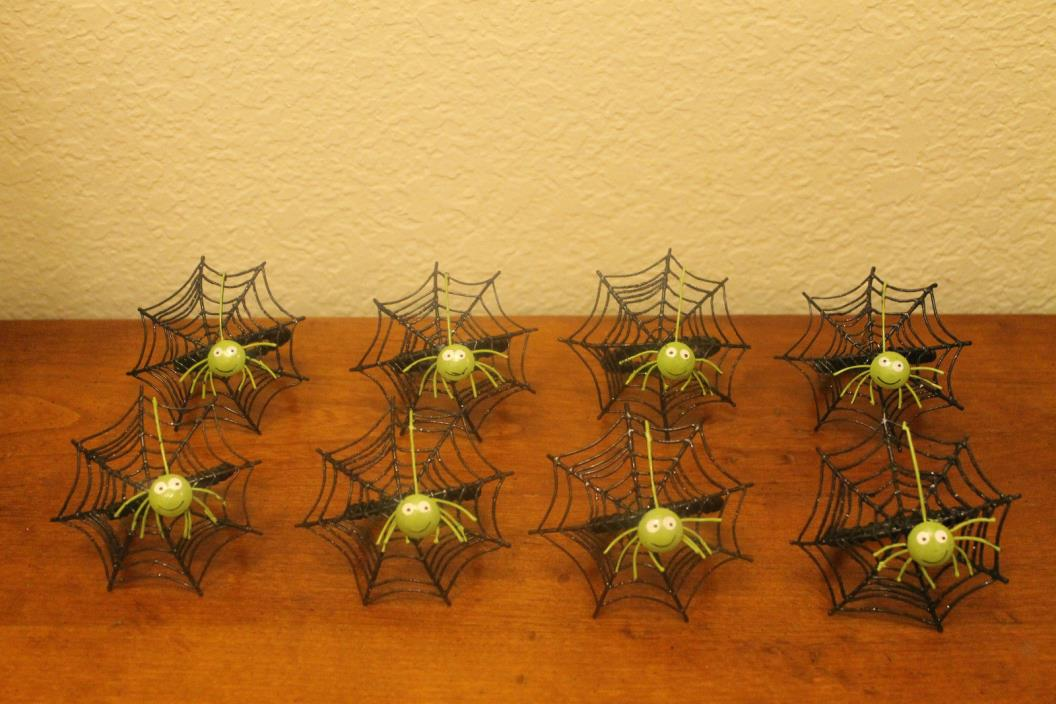 Spooky Set of 8 Kohls Halloween Metal Green and Black Spider Napkin Rings 3