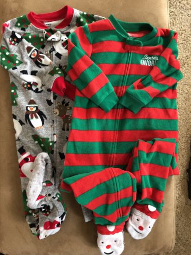 Lot 2 Carter's Baby Boy 24 Months Footed Pajamas Sleeper PJ's Jammies Christmas