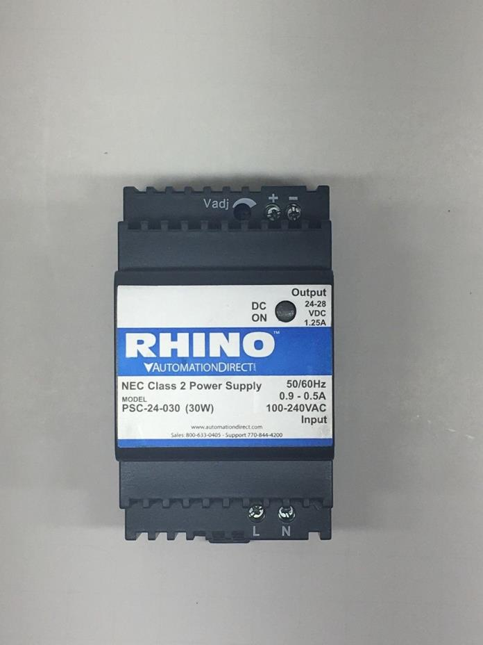Rhino PSC-24-030 120/240VAC Input to 24VDC Adjustable Output Power Supply