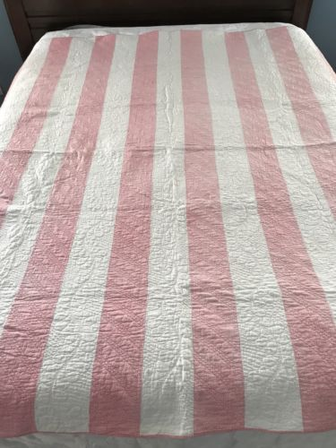 Incredible Quilting! ANTIQUE c1880 Double Pink and White QUILT