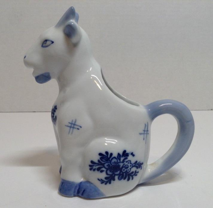 Vintage White and Blue Billy Goat Milk Creamer Porcelain Ceramic 5
