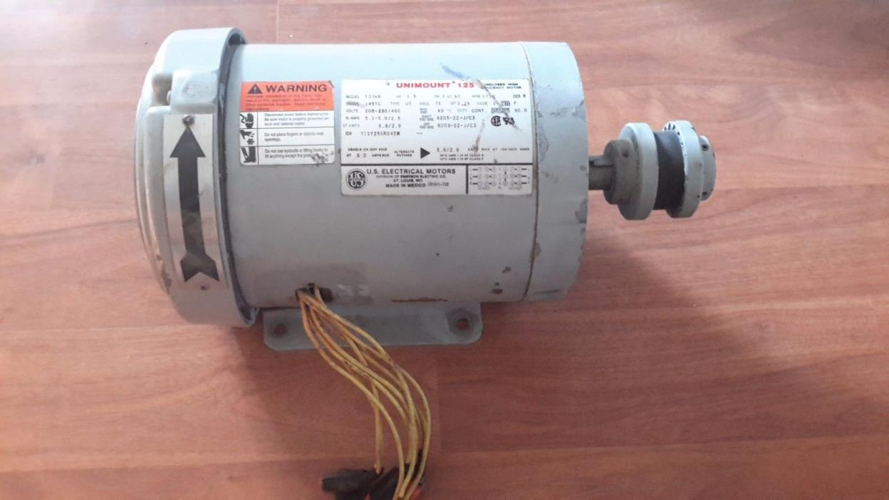Used US Motors Unimount 125 3-Phase Electric Motor (1.5HP, 1730 RPM,208-460v)