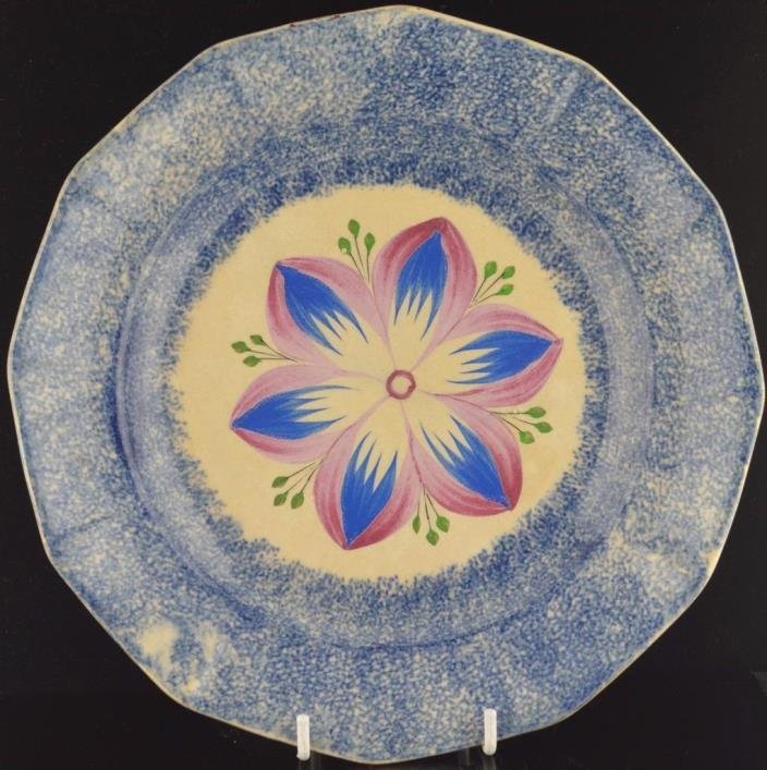BLUE SPATTER DAHLIA PLATE 19th C.-9
