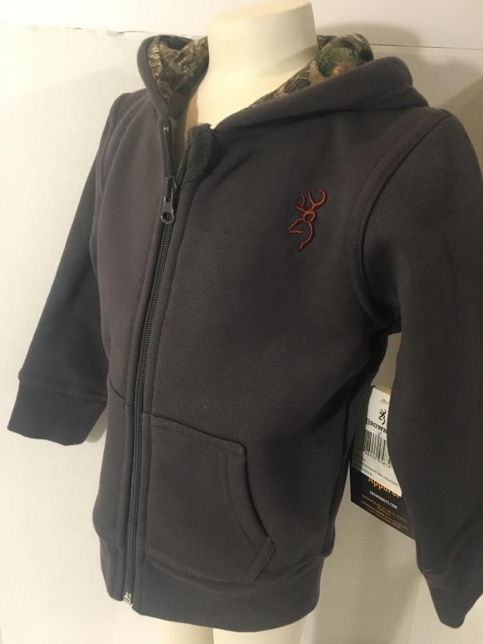 Browning Mossy Oak Buckmark Camo Sweatshirt/Jacket Boys 3 Toddler Full Zip Brown