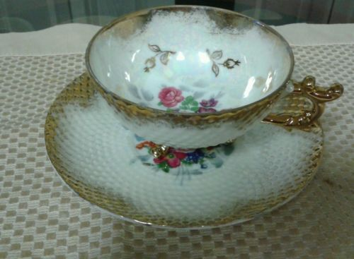 3 Footed Floral Teacup & Saucer  With Gold and Quilted Pattern Made in Japan