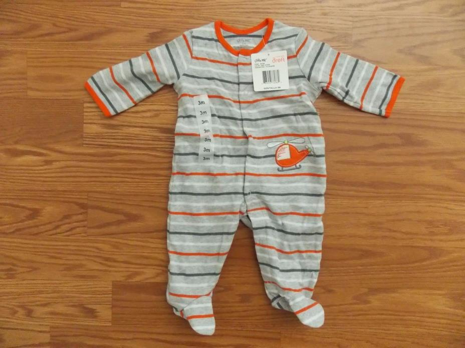 NEW Little Me Gray Orange White Helecopter Sleeper Size 3M
