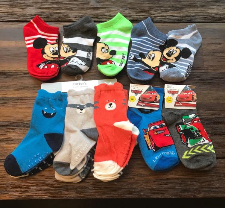 New13 Pc Lot Carters Animals Disney's Mickey Mouse Cars Socks Size 6-7.5 2-5 Yrs