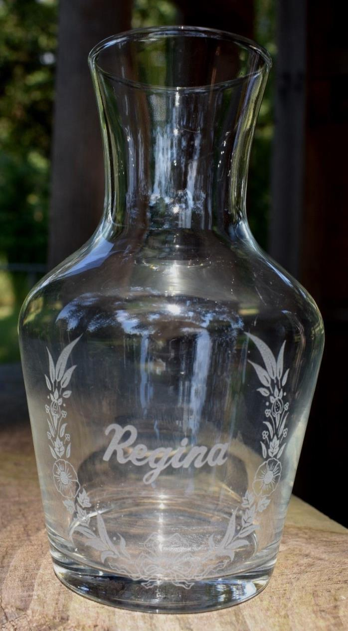 Personalized REGINA Vintage Etched Glass VASE 6.5 inches tall
