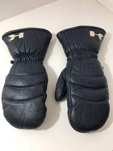 Vintage Kawasaki Mens Man Small Leather Snowmobiling Gloves Mittens