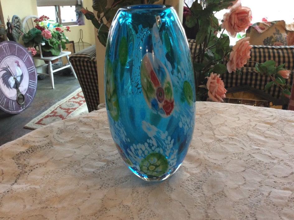 Murano Millefiori Italian Art Glass Vase 7 1/2