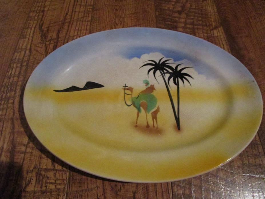 Antique Vtg Desert Camel Middle Eastern Arabian PLATTER 13