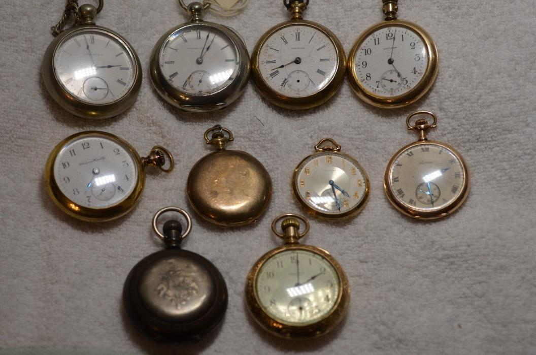 10 Antique Pocket Watches from Watchmaker's Estate  2 Illinois Key Wind 18s